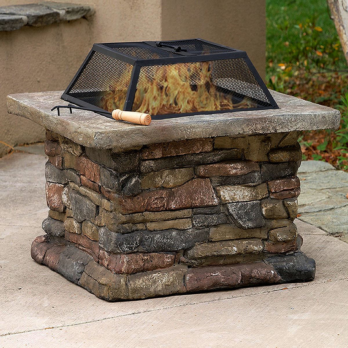 Picture of Outdoor Patio Firepit with Matte Steel Fire Bowl, Stone Base 29""