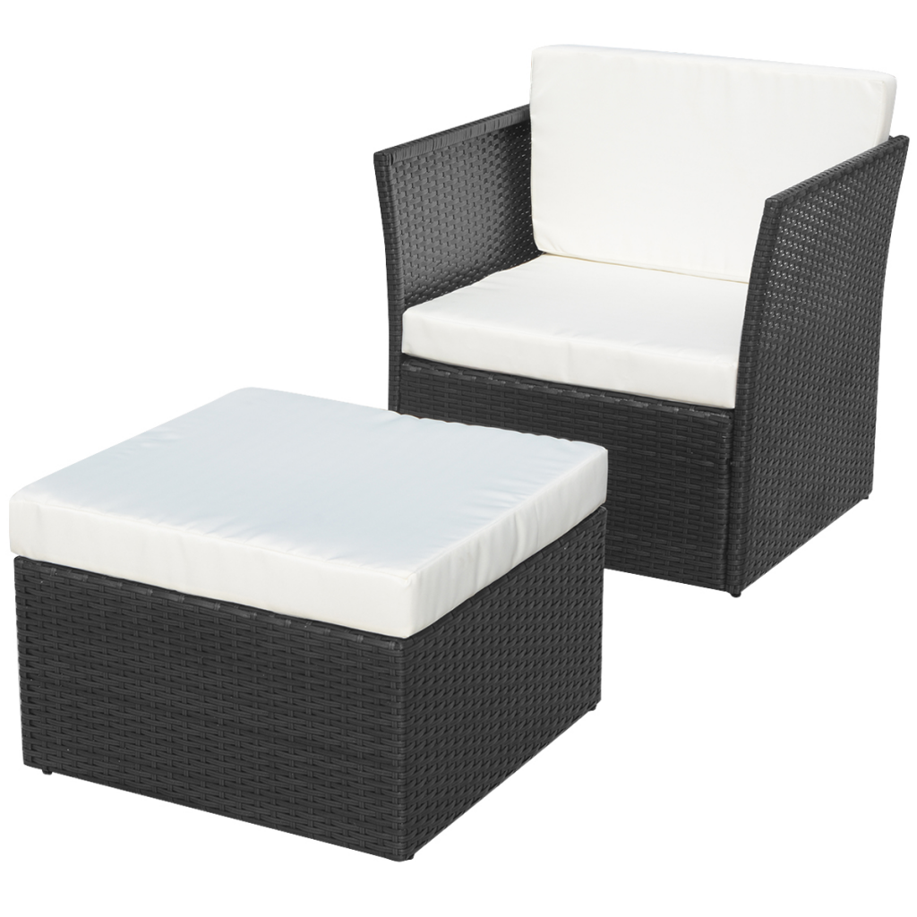 Picture of Outdoor Patio Furniture Rattan Wicker Chair Stool Set - Black