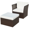 Picture of Outdoor Patio Furniture Rattan Wicker Chair Stool Set - Brown