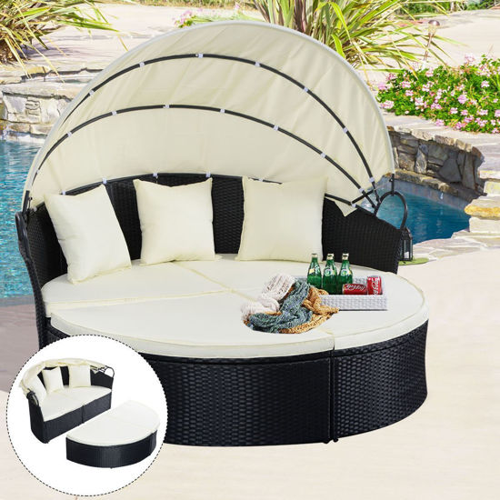 Picture of Outdoor Patio Furniture Round Daybed Retractable Sofa  - Black