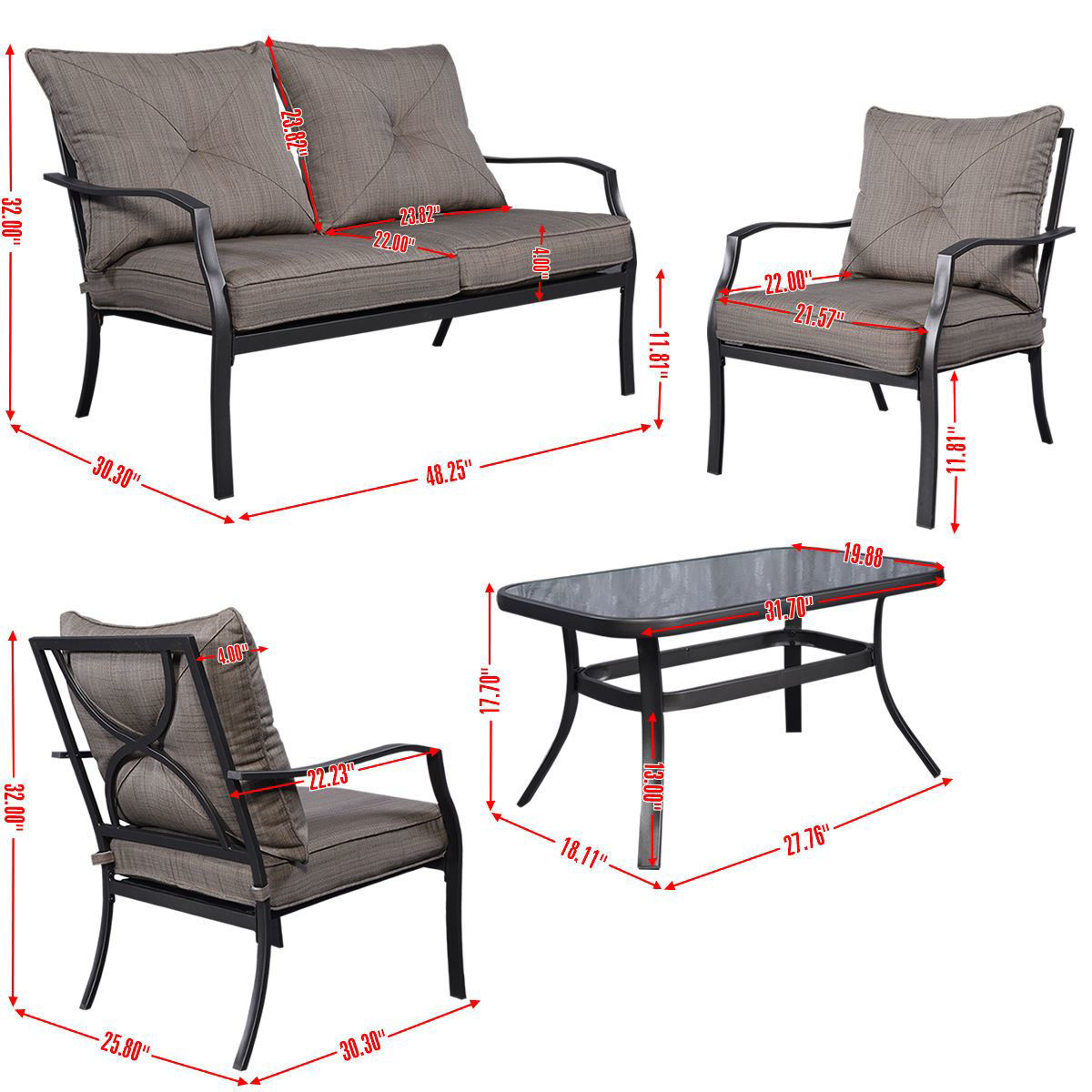 Picture of Outdoor Patio Furniture Set Tea Table & Chairs 4 Piece