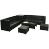 Picture of Outdoor Patio Garden Furniture Sofa Seat Set Poly Wicker Rattan - Black 8 pcs