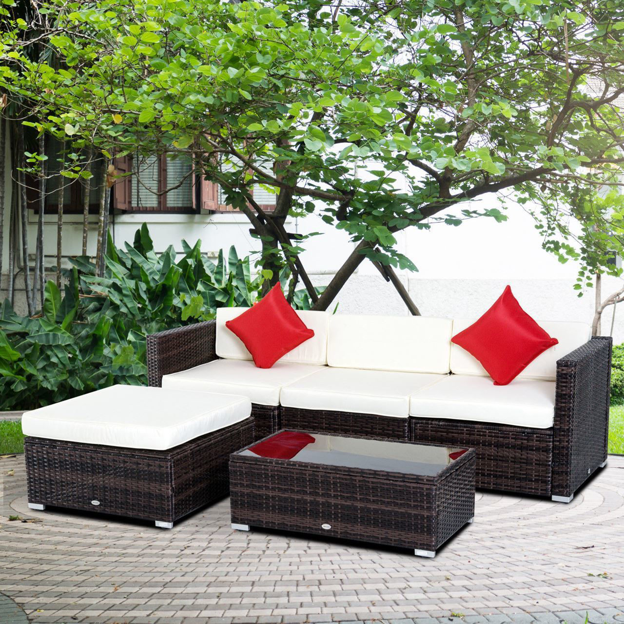 Picture of Outdoor Patio PE Rattan Wicker 5 pc Sofa Chaise Lounge Furniture