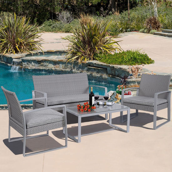 Picture of Outdoor Patio Rattan Furniture Set - 4 Pieces