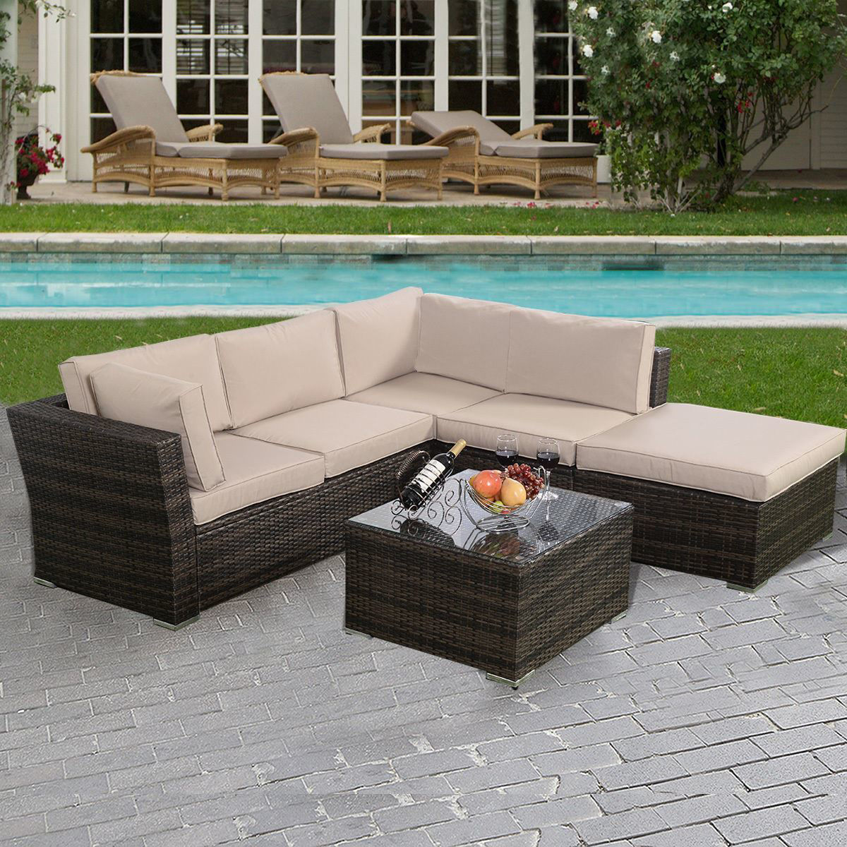 Picture of Outdoor Patio Wicker Furniture Seat Cushioned 4 Pieces