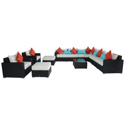 Picture of Outdoor PE Rattan Wicker Sectional Sofa Furniture Set 13 pc
