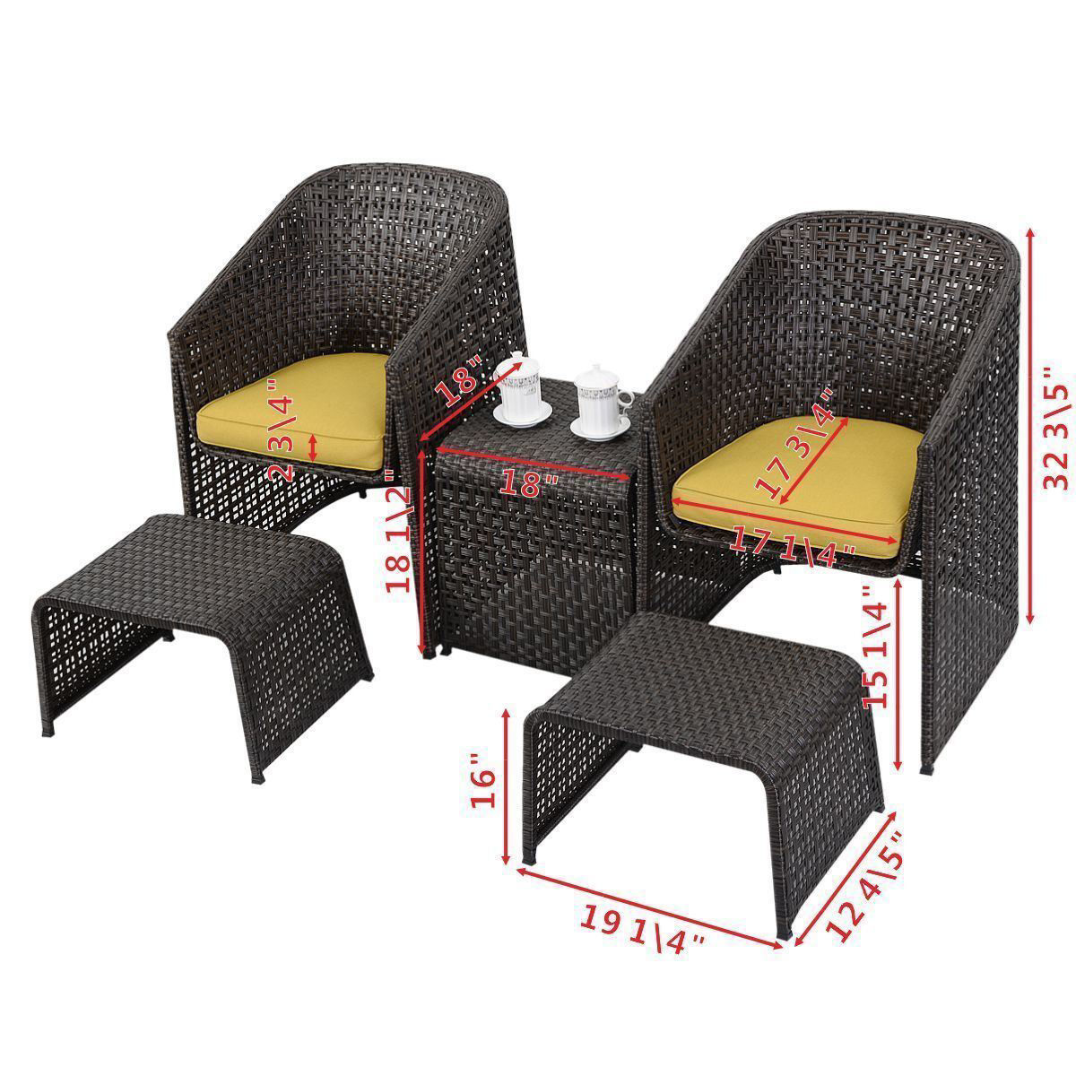 Picture of Outdoor Rattan Furniture Set with Footstools 5 Piece