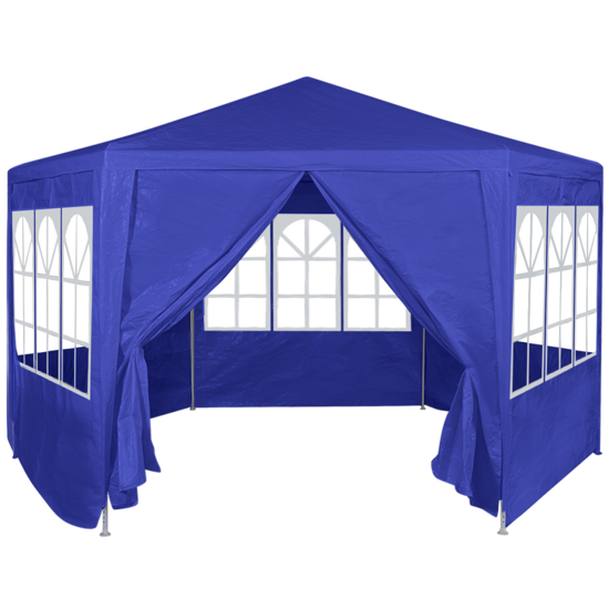 Picture of Outdoor Tent Gazebo Marquee with 6 Side Walls 6' x 6' - Blue
