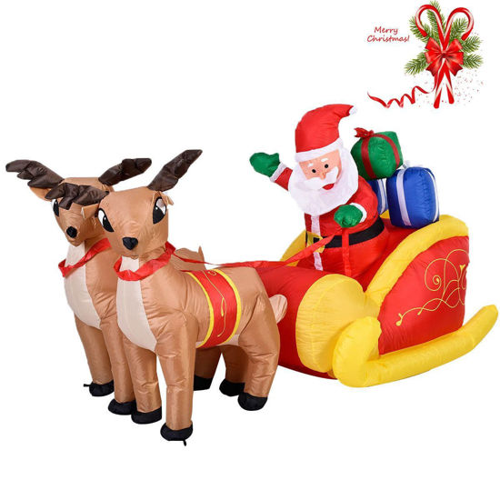 Picture of Outdoor Waterproof Inflatable Double Deer with Sled Christmas Decoration 7 Ft