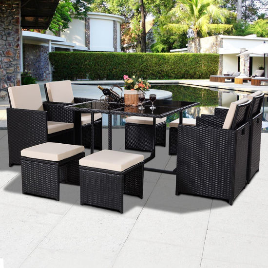 Picture of Outdoor Wicker Rattan Patio Furniture Set Cushioned With Ottoman Black 9 Pieces