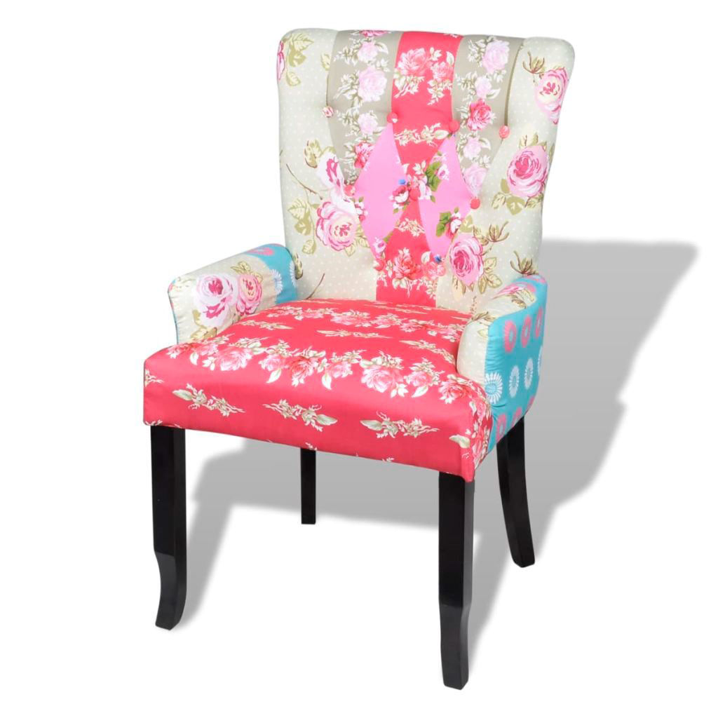 Picture of Patchwork Chair Upholstered Armrest Relax Multi Coloured