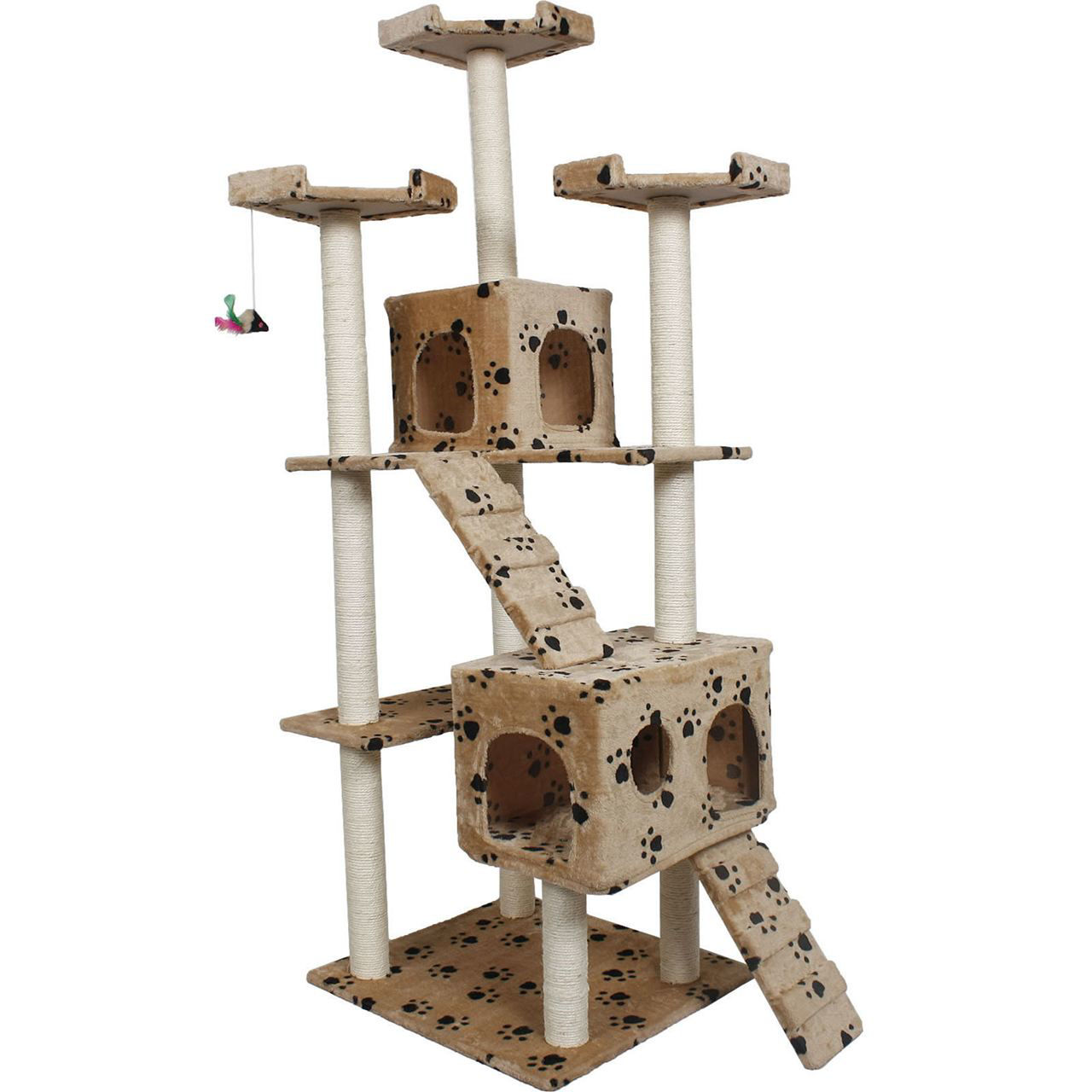 "Picture of Pet House Cat Tree Condo Furniture Scratch Paws 73"" Beige"