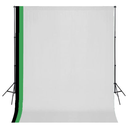 Picture of Photo Studio Kit 3 Cotton Backdrops Adjustable Frame 10x10 ft