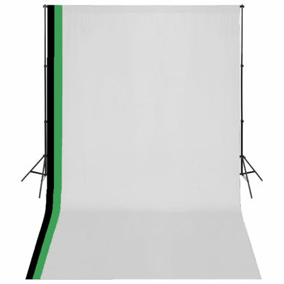 Picture of Photo Studio Kit 3 Cotton Backdrops Adjustable Frame 10x16.4 ft