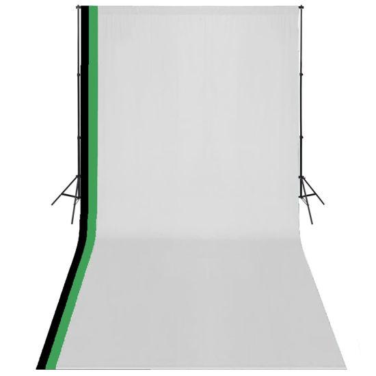 Picture of Photo Studio Kit 3 Cotton Backdrops Adjustable Frame 10x20 ft