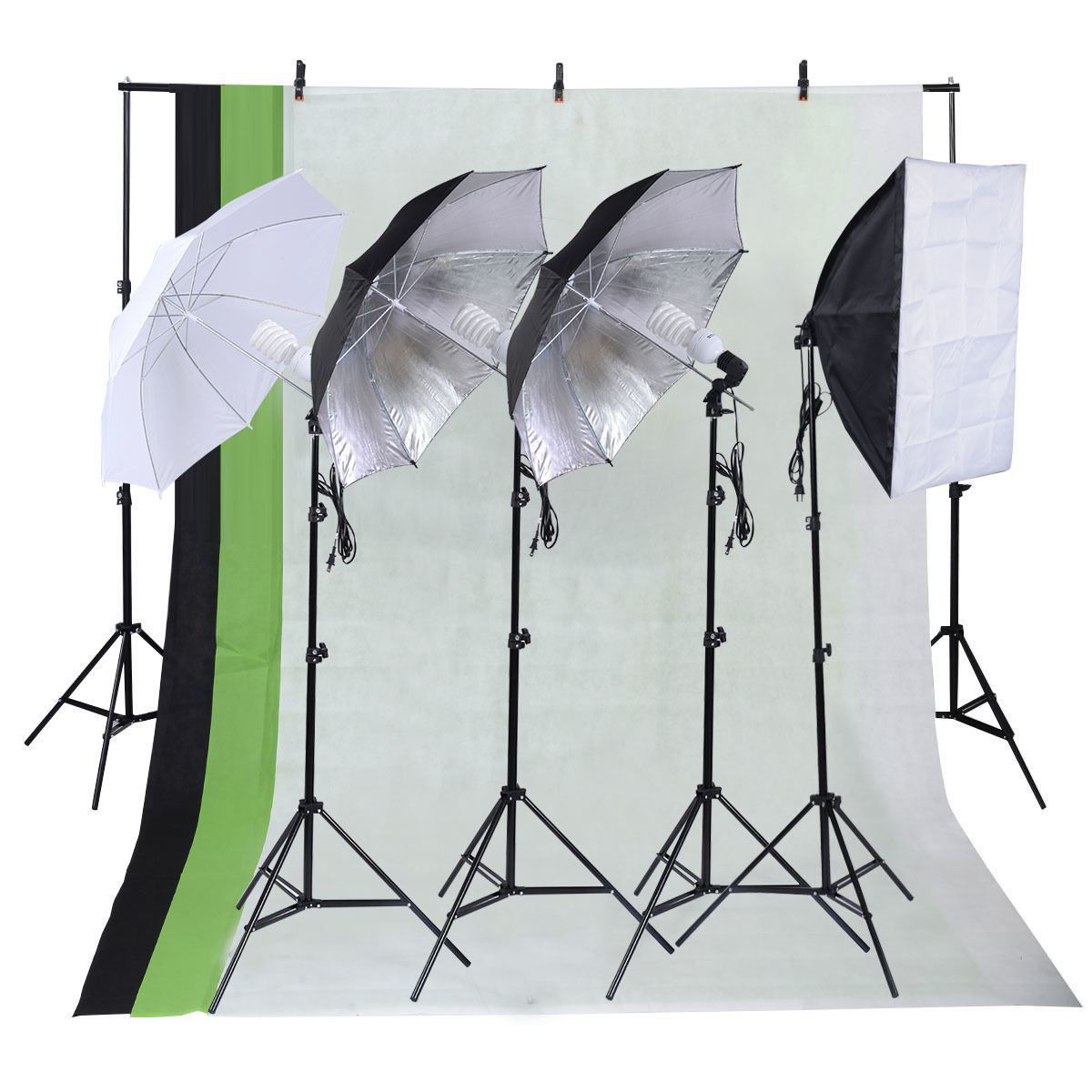 Picture of Photo Studio Photography Kit with Backdrop Stand Sets 3 Umbrella Muslin and 4 Light Bulb