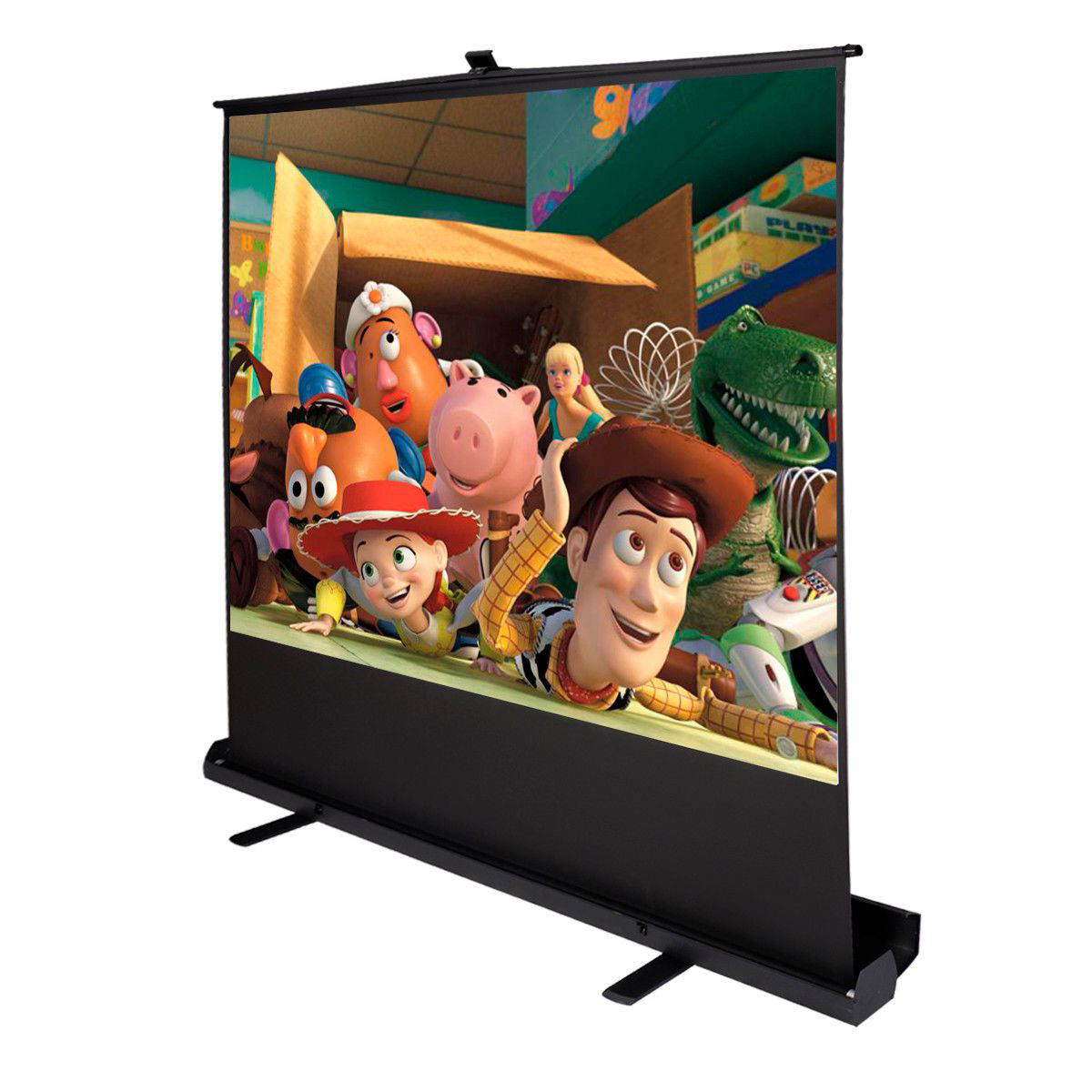 "Picture of Screen Projector 100"" Inch 4:3 Portable Pull Up Floor Aluminium Case"