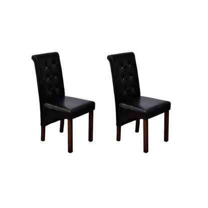 Picture of Set of 2 Antique Black Artificial Leather Dining Chairs