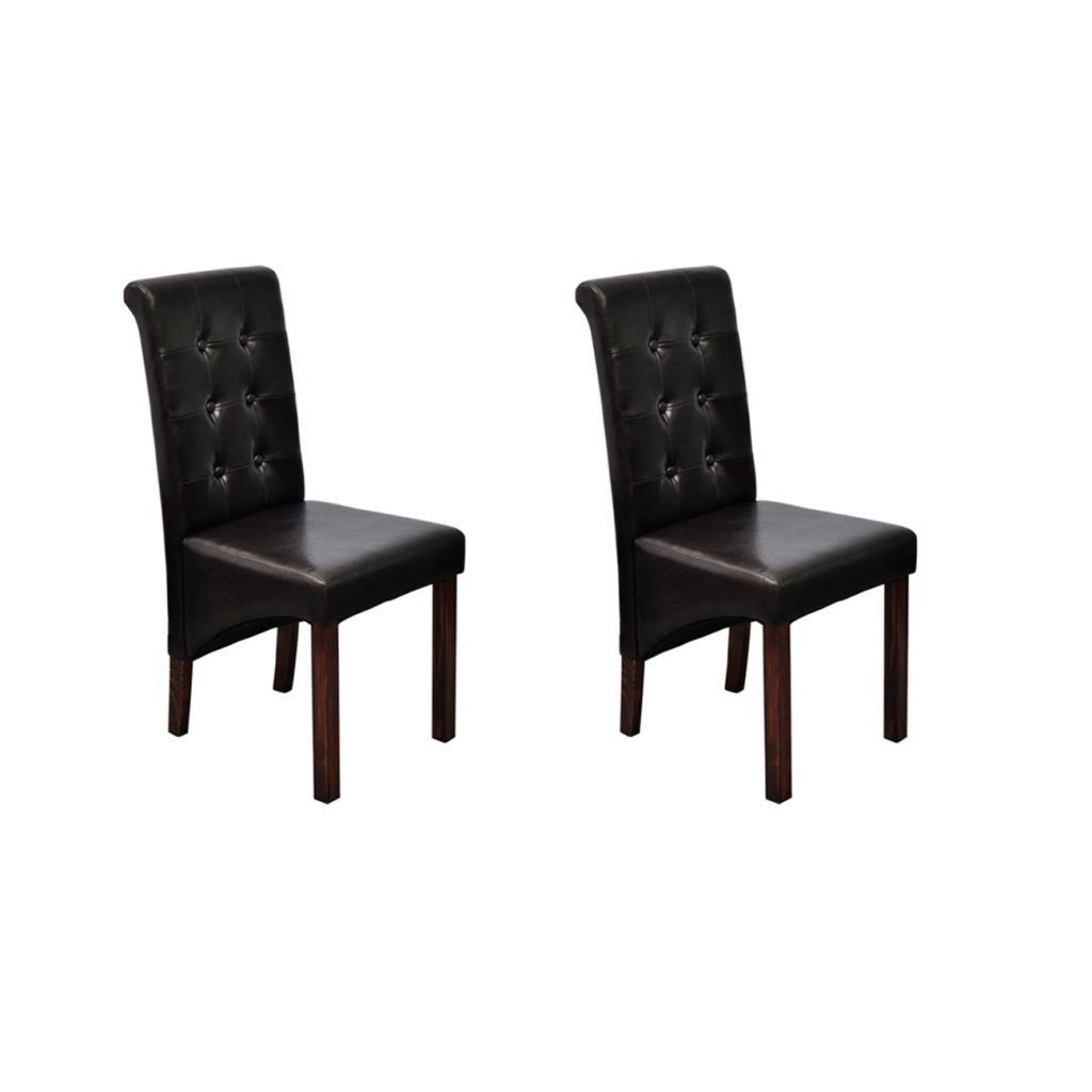 Picture of Set of 2 Antique Brown Artificial Leather Dining Chairs