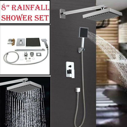 """Picture of Shower Head Rainfall Arm Control Set 8"""" Chrome"""