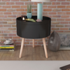 "Picture of Side Table with Serving Tray Round 15.6""x17.5"" Black"