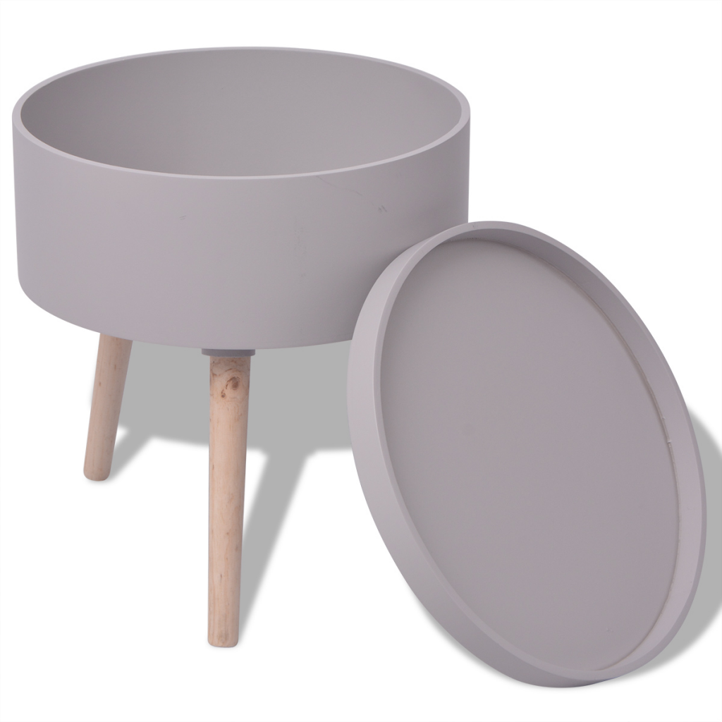 """Picture of Side Table with Serving Tray Round 15.6""""x17.5"""" Gray"""