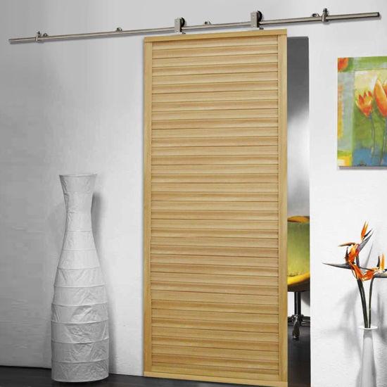 Picture of Sliding Barn Wood Door Hardware Modern Stainless Steel Closet Track Set 6.6 FT