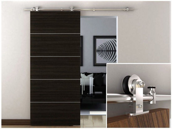 Picture of Sliding Barn Wood Door Hardware Stainless Steel Interior Modern Track Set 6.6 FT