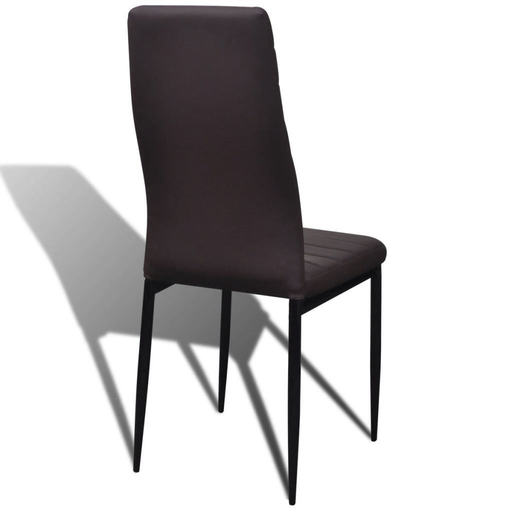 Picture of Slim Line Dining Chairs 6 pcs Artificial Leather Brown