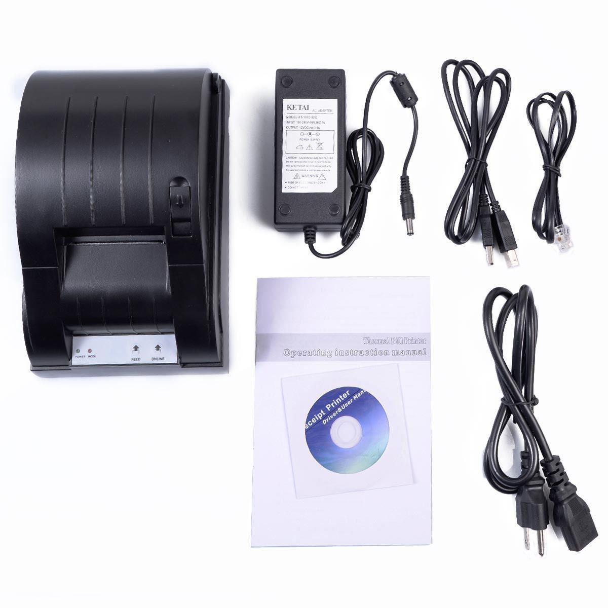 Picture of Thermal Dot Receipt Printer Set + Electronic Cash Drawer Roll Paper USB 58mm POS
