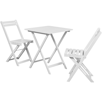 Picture of Three Piece Bistro Set Balcony Set White Acacia Wood