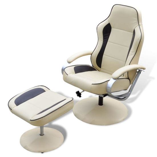 Picture of TV Armchair Recliner Artificial Leather Cream and Brown with Footrest