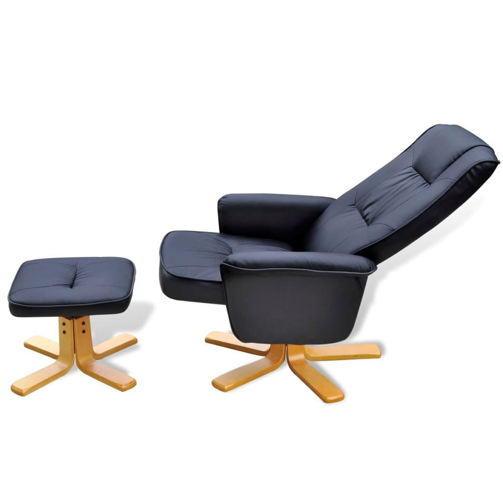 Picture of TV Recliner Armchair Artificial Leather with Footrest - Black