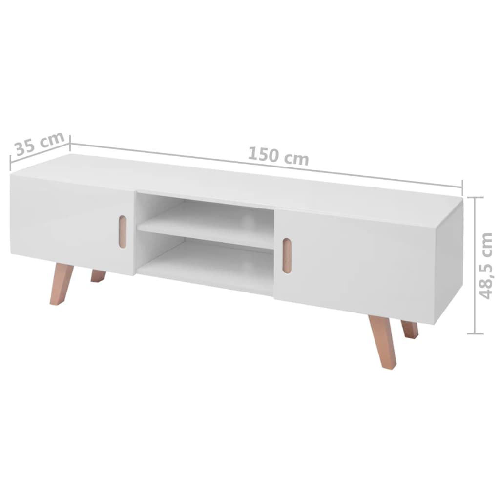 """Picture of TV Stand MDF 59"""" - High Gloss White"""