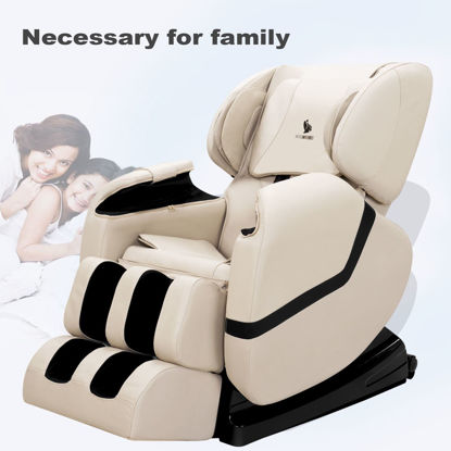 Picture of Zero Gravity Shiatsu Full Body Massage Chair Recliner with Heat and Foot Rest - Khaki