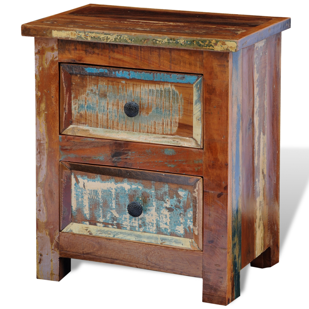 Picture of Vintage Bedside Nightstand Cabinet with 2 Drawers - Reclaimed Solid Wood
