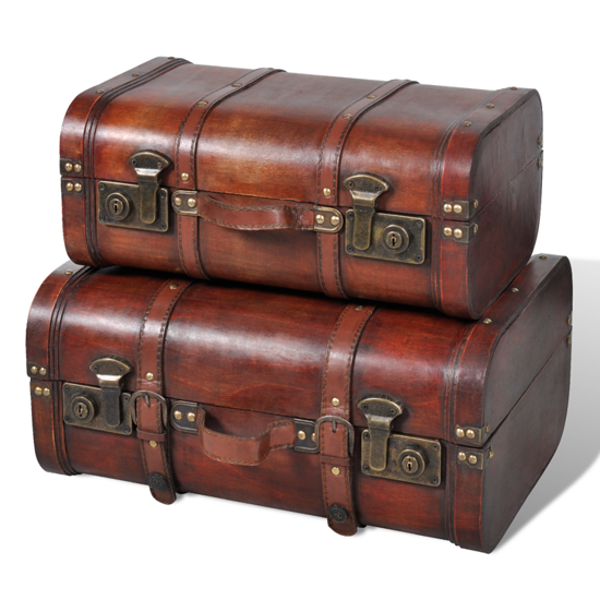 Picture of Wooden Storage Chest - 2 Pcs Brown
