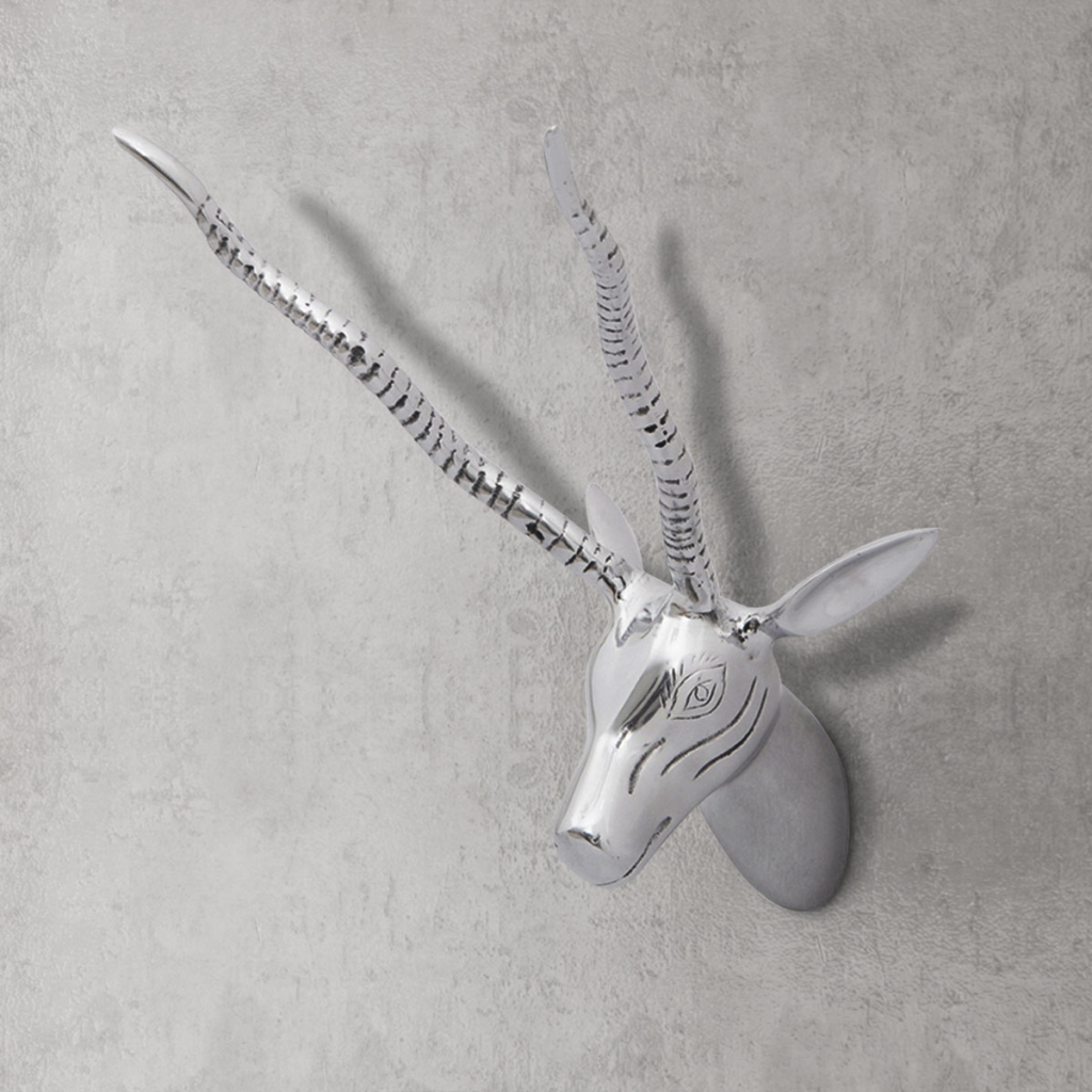 """Picture of Wall Mounted Aluminum Deer's Head Decoration Silver 13"""""""