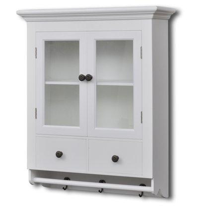 Picture of White Wooden Kitchen Wall Cabinet with Glass Door