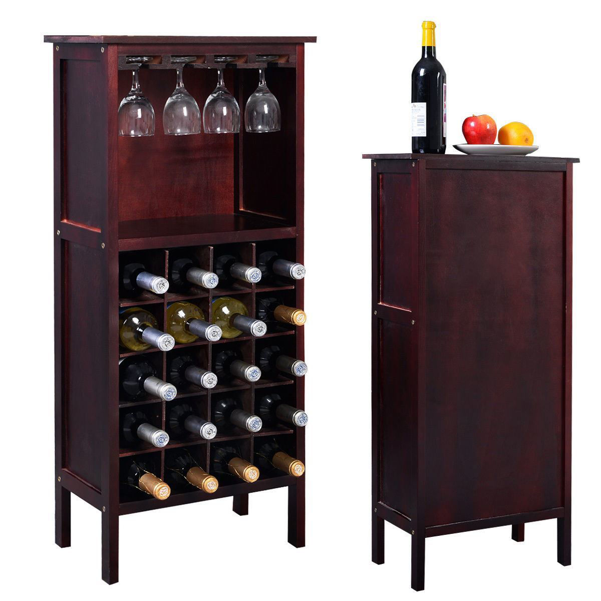Picture of Wine Cabinet Bar Bottle Holder Storage with Glass Rack