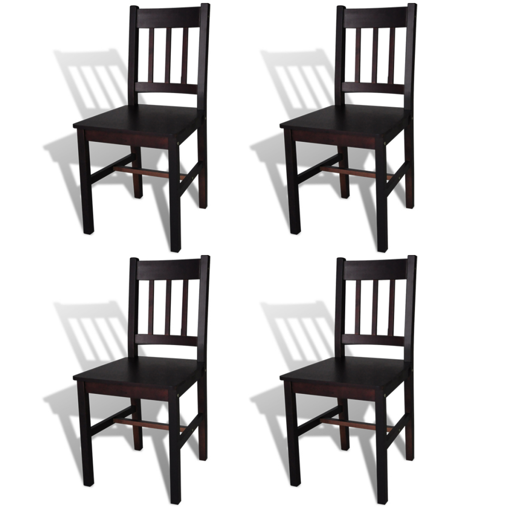 Picture of Wood Dining Chair - Brown 4 pcs