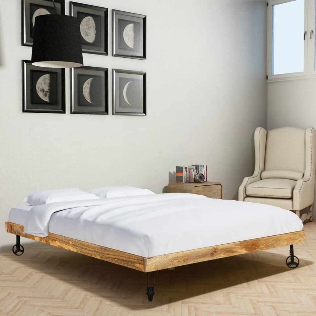 """Picture of Wooden Double Bed Frame - Rough Mango 71"""""""