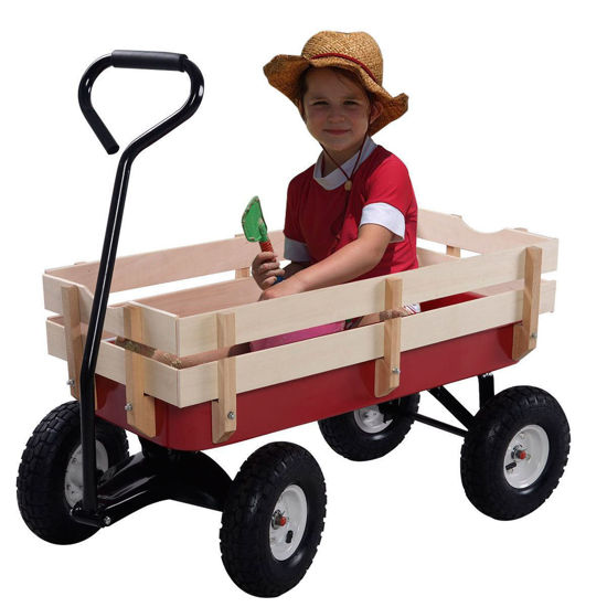 Picture of Wooden Pulling Wagon with Railing