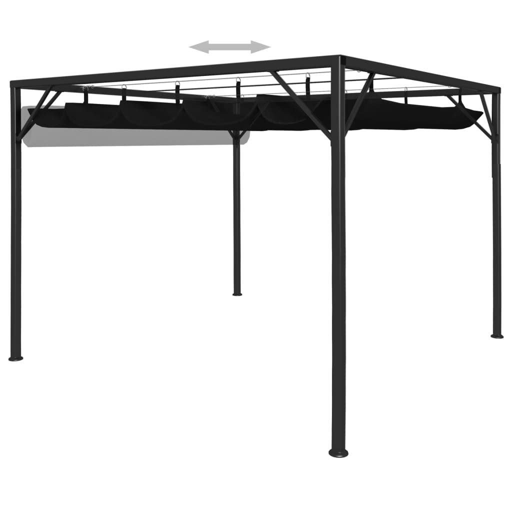 Picture of Outdoor Gazebo Canopy with Retractable Roof - Anthracite