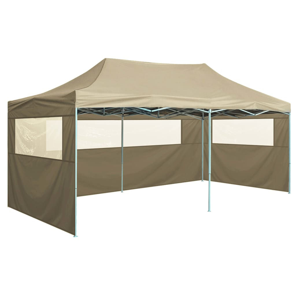 Picture of Outdoor Steel Gazebo Folding Party Tent with 4 Sidewalls - Cream