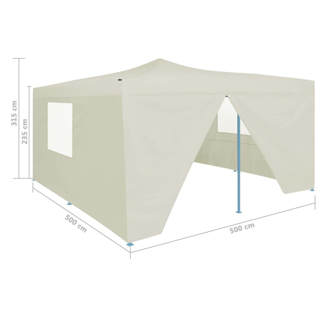 Picture of Outdoor Gazebo Folding Tent with 4 Sidewalls - Cream