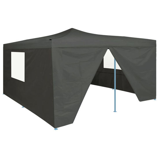 Picture of Outdoor Gazebo Folding Tent with 4 Sidewalls - Anthracite