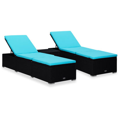 Picture of Outdoor Lounger with Table - Black