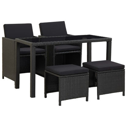 Picture of Outdoor Dining Set - Black 5 pcs
