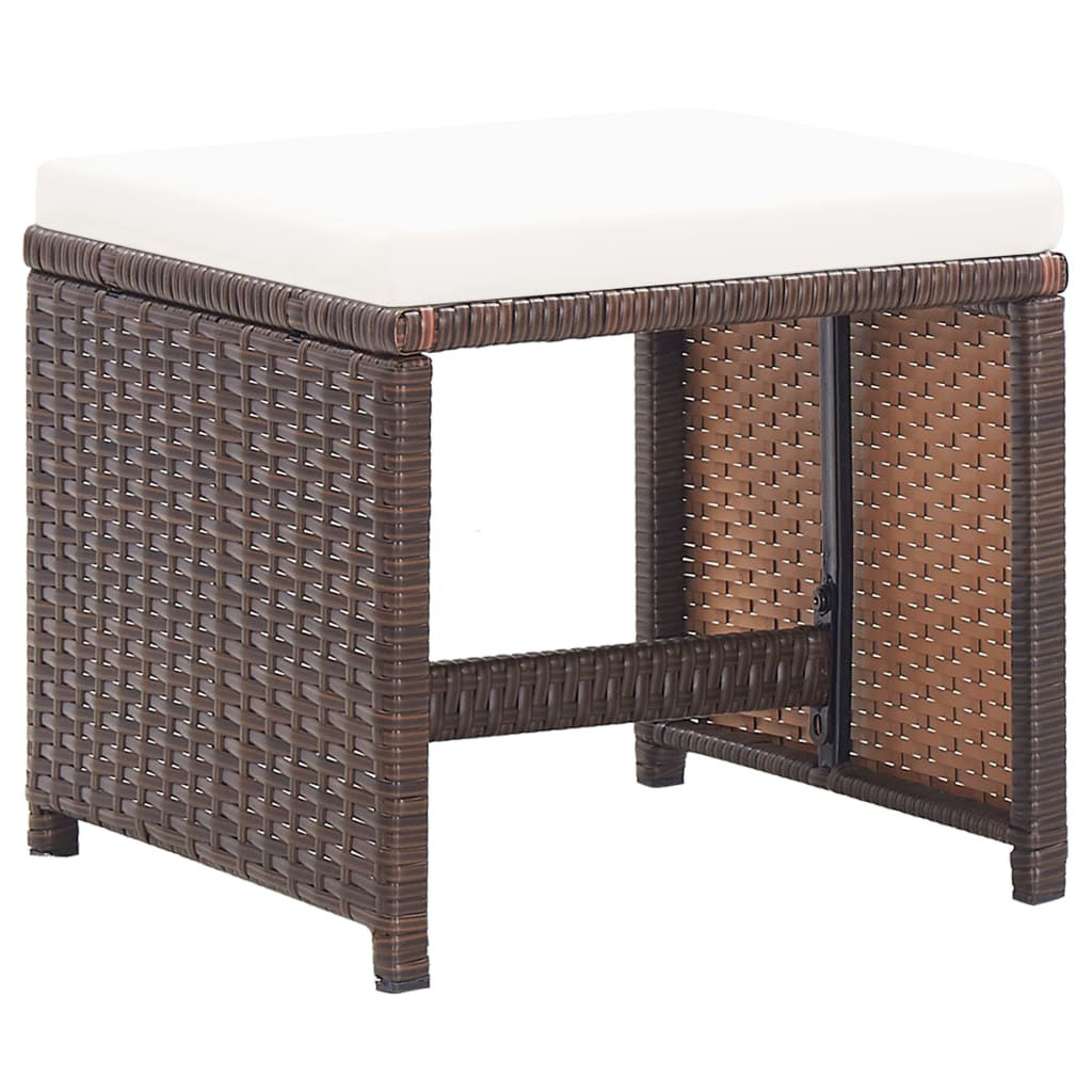 Picture of Outdoor Patio Stools - Brown 2 pcs